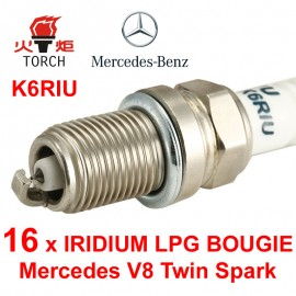 LPG-Bougie Set 16x Mercedes 430 500 55 AMG V8 Twin Spark Torch Iridium