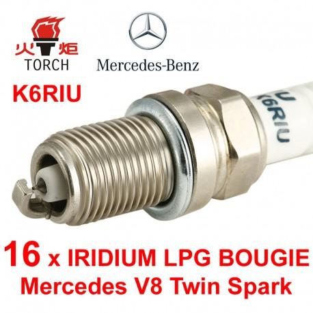 LPG-Bougie Set 16x Mercedes 430 500 55 AMG V8 Twin Spark Torch Iridium